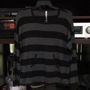 Striped Kensie front tie pullover